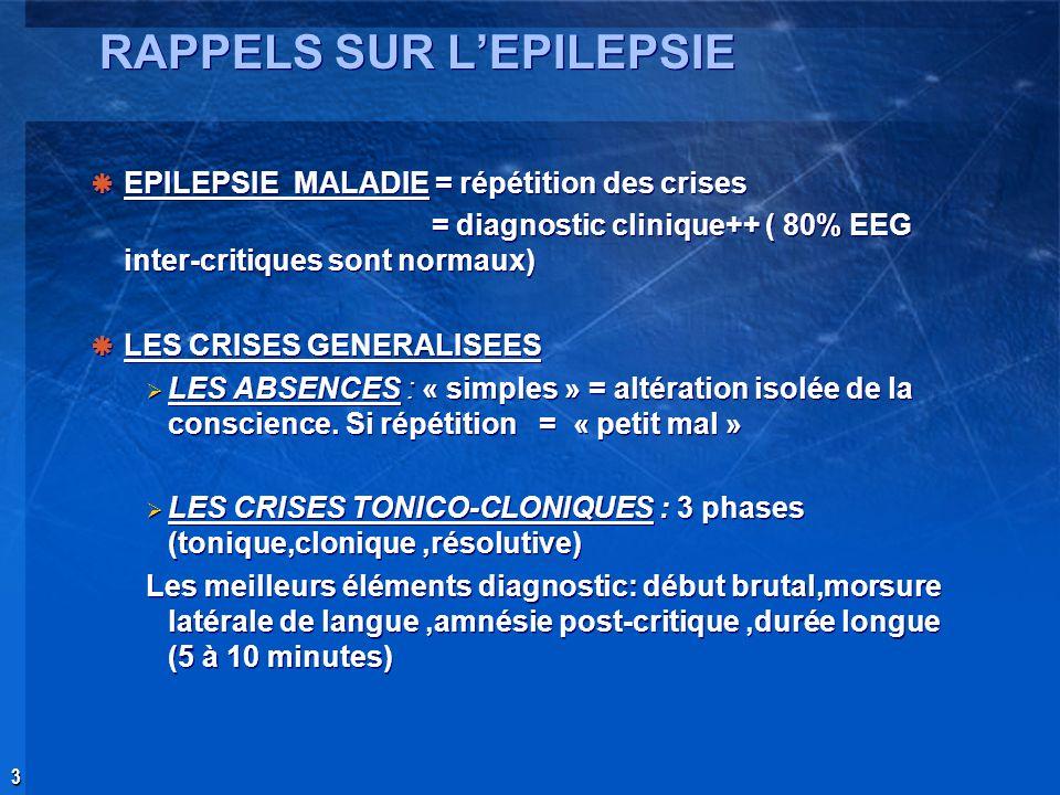 3 RAPPELS SUR LEPILEPSIE EPILEPSIE MALADIE = répétition des crises = diagnostic clinique++ ( 80% EEG inter-critiques sont normaux) LES CRISES GENERALI