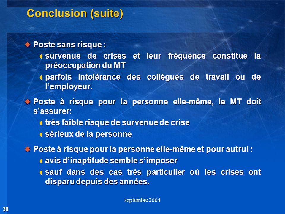 30 septembre 2004 Conclusion (suite) Poste sans risque : survenue de crises et leur fréquence constitue la préoccupation du MT parfois intolérance des