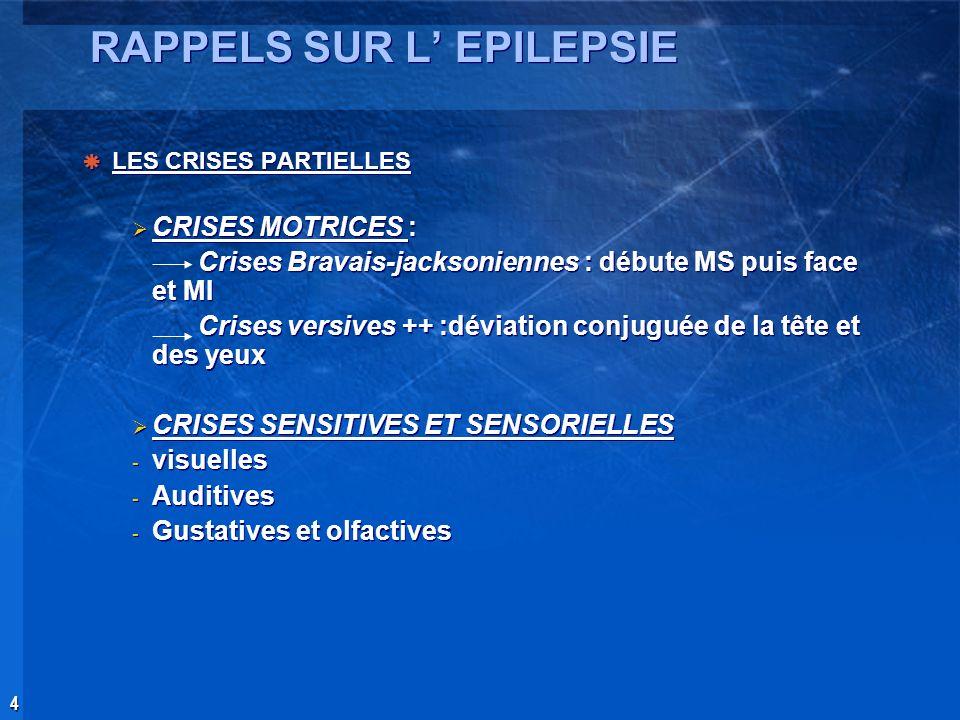 4 RAPPELS SUR L EPILEPSIE LES CRISES PARTIELLES CRISES MOTRICES : Crises Bravais-jacksoniennes : débute MS puis face et MI Crises versives ++ :déviati