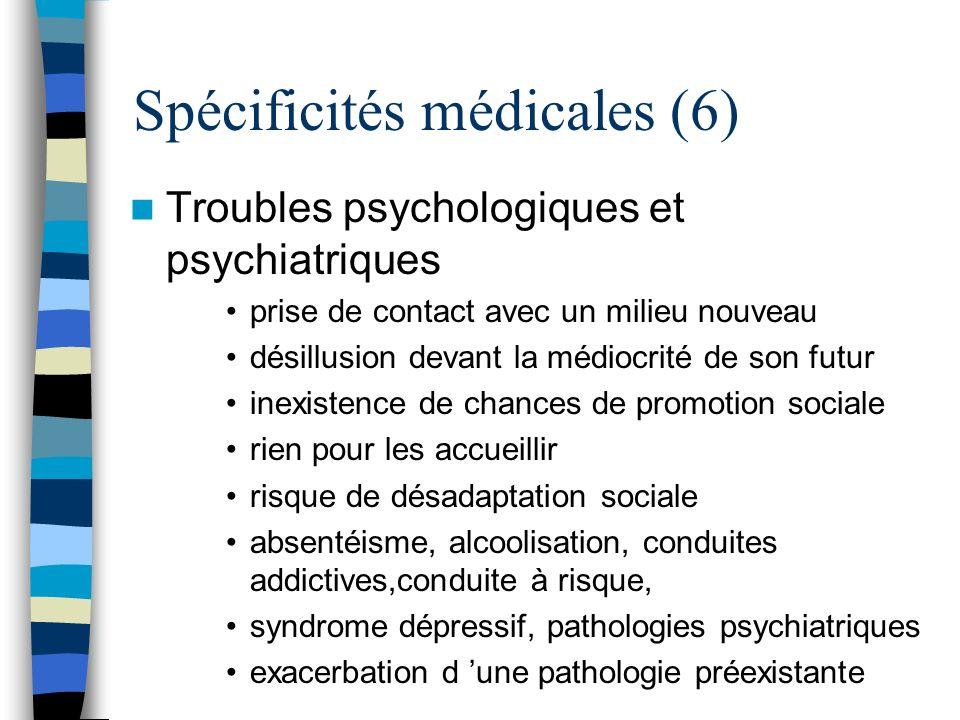 Spécificités médicales (6) Troubles psychologiques et psychiatriques prise de contact avec un milieu nouveau désillusion devant la médiocrité de son f