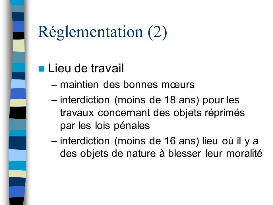 Réglementation (2) Lieu de travail –maintien des bonnes mœurs –interdiction (moins de 18 ans) pour les travaux concernant des objets réprimés par les