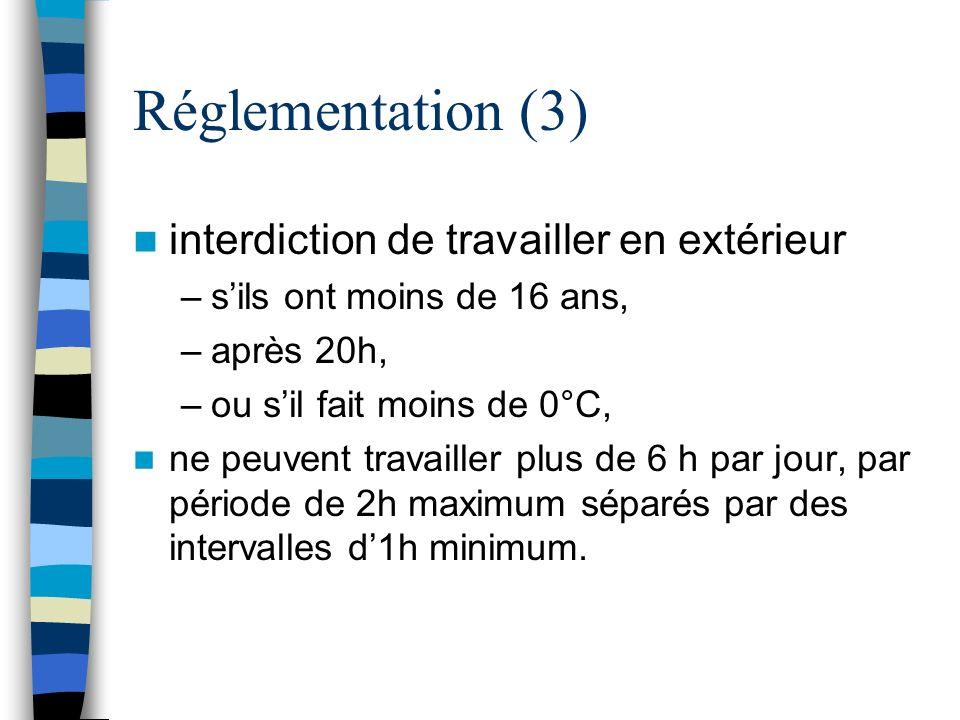 Réglementation (3) interdiction de travailler en extérieur –sils ont moins de 16 ans, –après 20h, –ou sil fait moins de 0°C, ne peuvent travailler plu