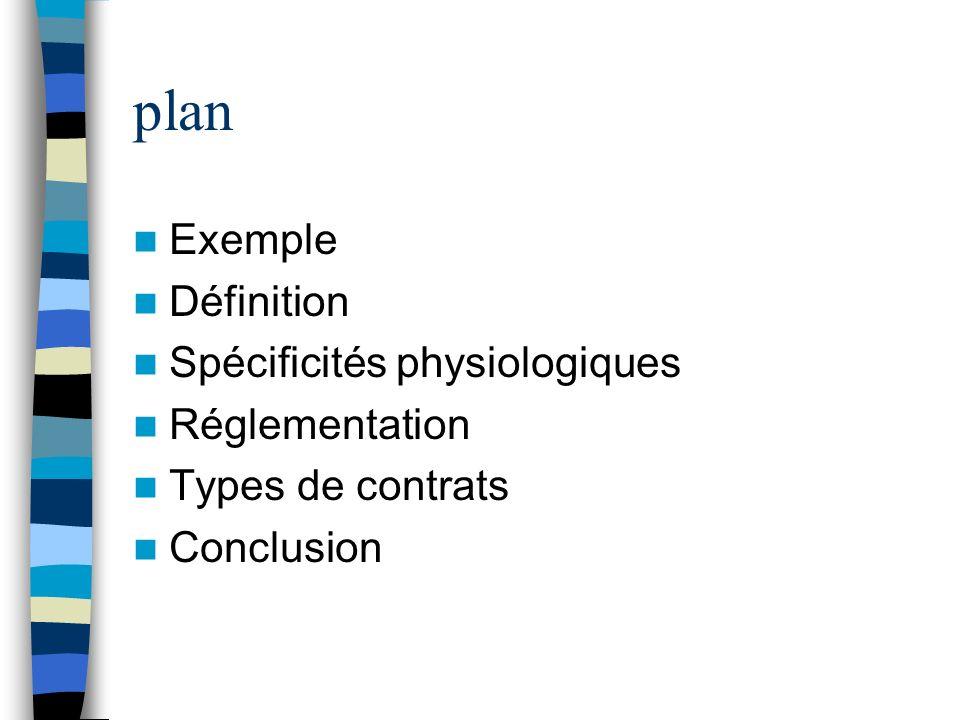 plan Exemple Définition Spécificités physiologiques Réglementation Types de contrats Conclusion