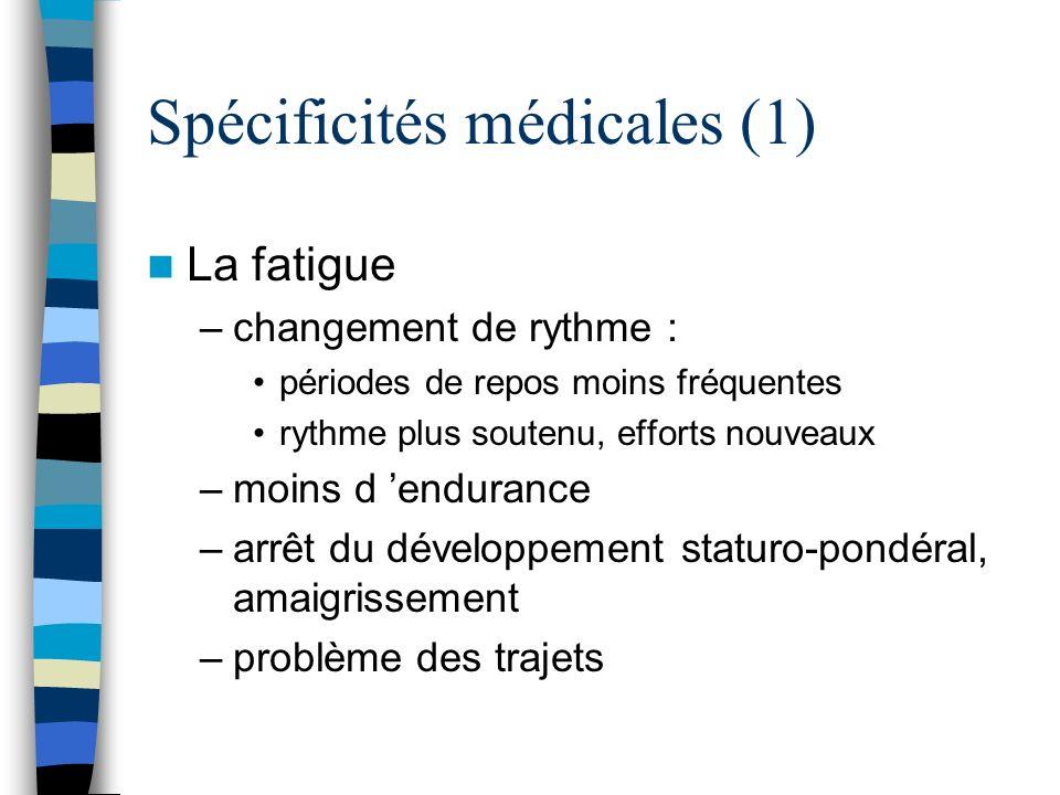 Spécificités médicales (1) La fatigue –changement de rythme : périodes de repos moins fréquentes rythme plus soutenu, efforts nouveaux –moins d endura