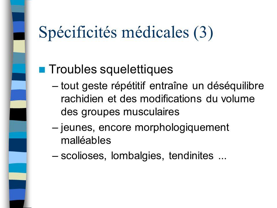 Spécificités médicales (3) Troubles squelettiques –tout geste répétitif entraîne un déséquilibre rachidien et des modifications du volume des groupes