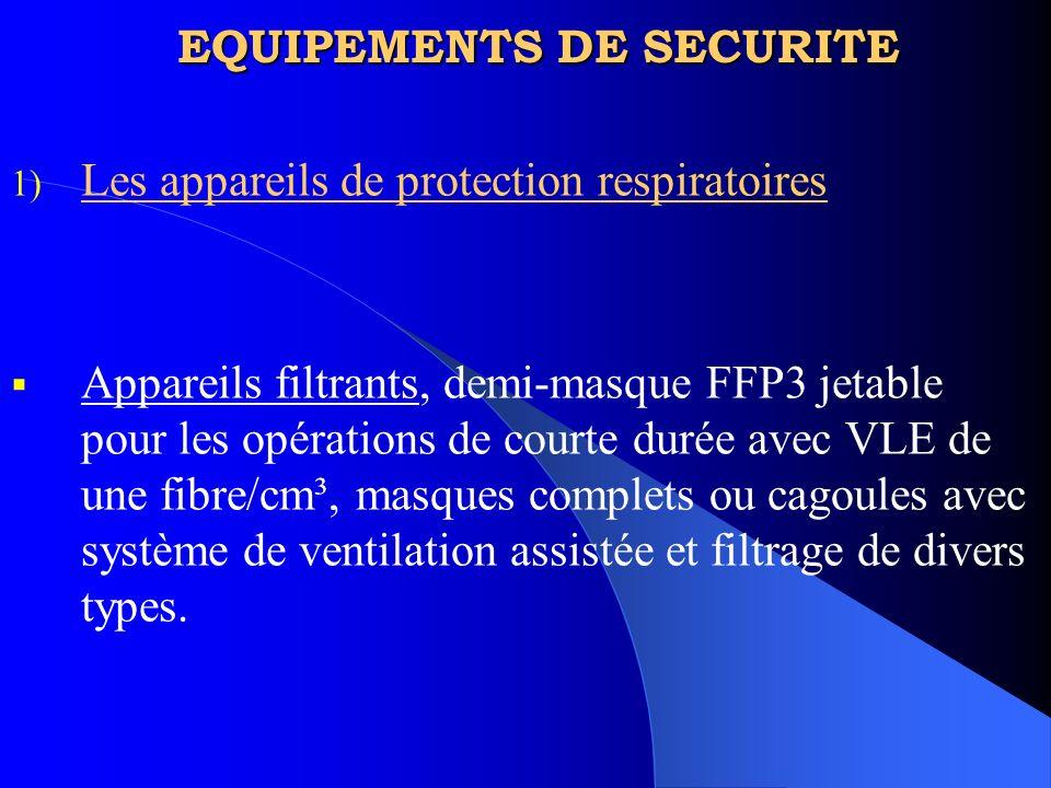 EQUIPEMENTS DE SECURITE 1) Les appareils de protection respiratoires Appareils filtrants, demi-masque FFP3 jetable pour les opérations de courte durée