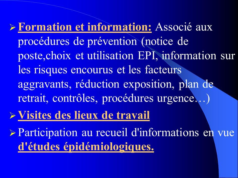 Formation et information: Associé aux procédures de prévention (notice de poste,choix et utilisation EPI, information sur les risques encourus et les