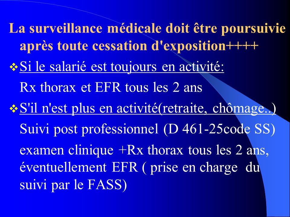 La surveillance médicale doit être poursuivie après toute cessation d'exposition++++ Si le salarié est toujours en activité: Rx thorax et EFR tous les