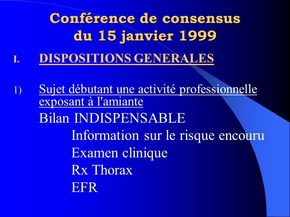 Conférence de consensus du 15 janvier 1999 I. DISPOSITIONS GENERALES 1) Sujet débutant une activité professionnelle exposant à l'amiante Bilan INDISPE