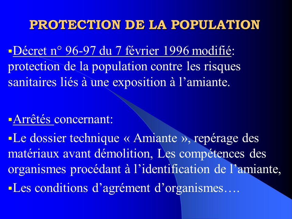 PROTECTION DE LA POPULATION Décret n° 96-97 du 7 février 1996 modifié: protection de la population contre les risques sanitaires liés à une exposition