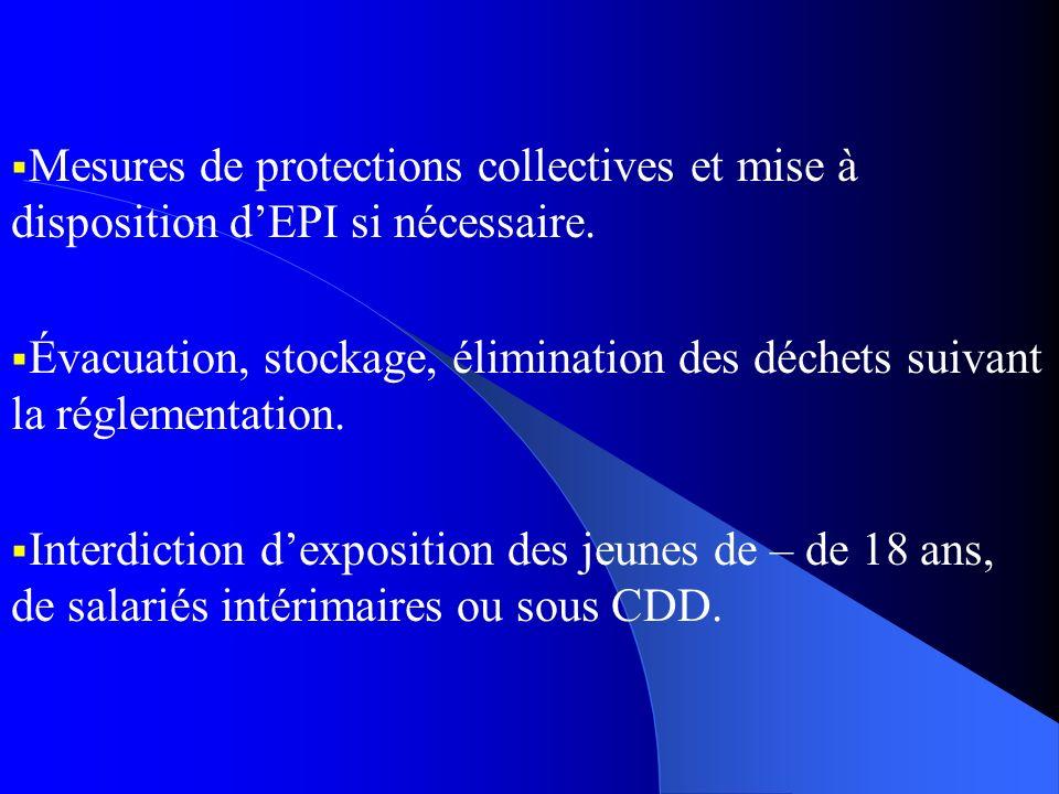 Mesures de protections collectives et mise à disposition dEPI si nécessaire. Évacuation, stockage, élimination des déchets suivant la réglementation.