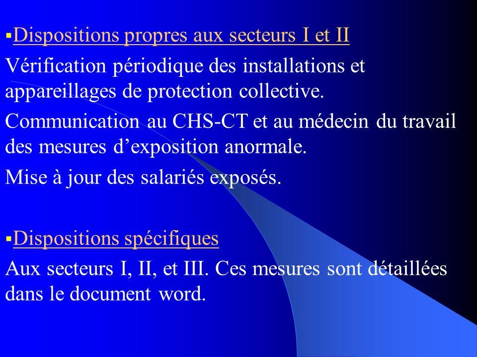 Dispositions propres aux secteurs I et II Vérification périodique des installations et appareillages de protection collective. Communication au CHS-CT