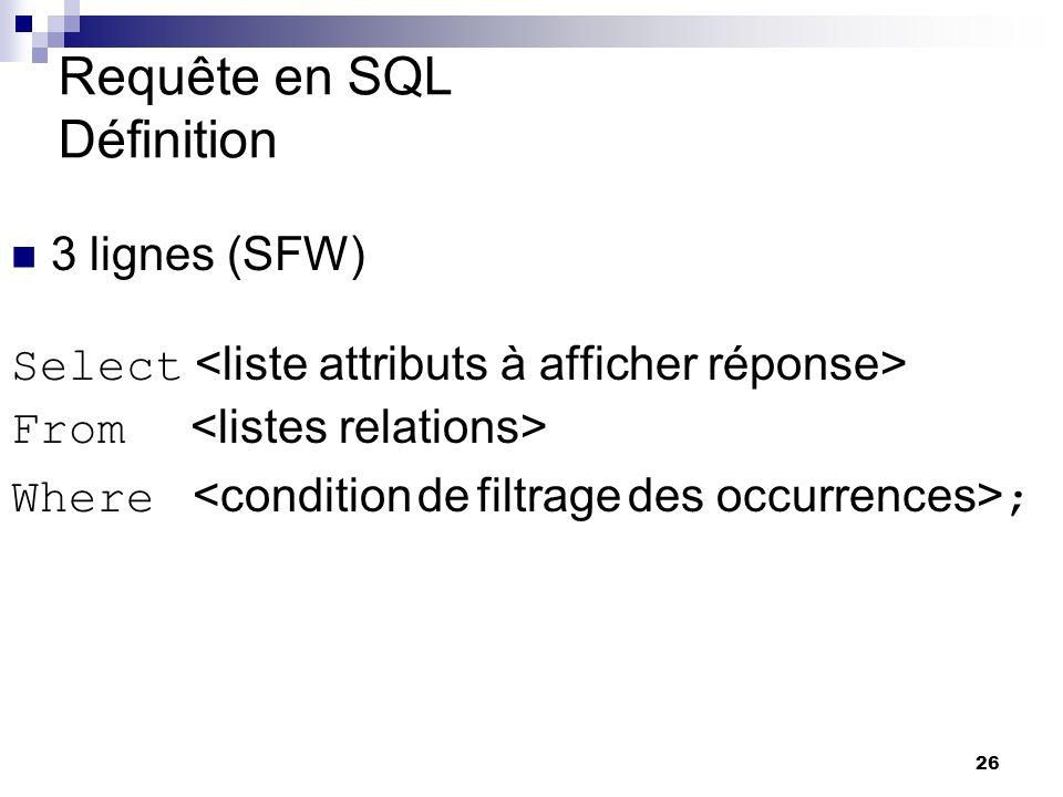 26 Requête en SQL Définition 3 lignes (SFW) Select From Where ; yves Quelle est la traduction de la requête en SQL .