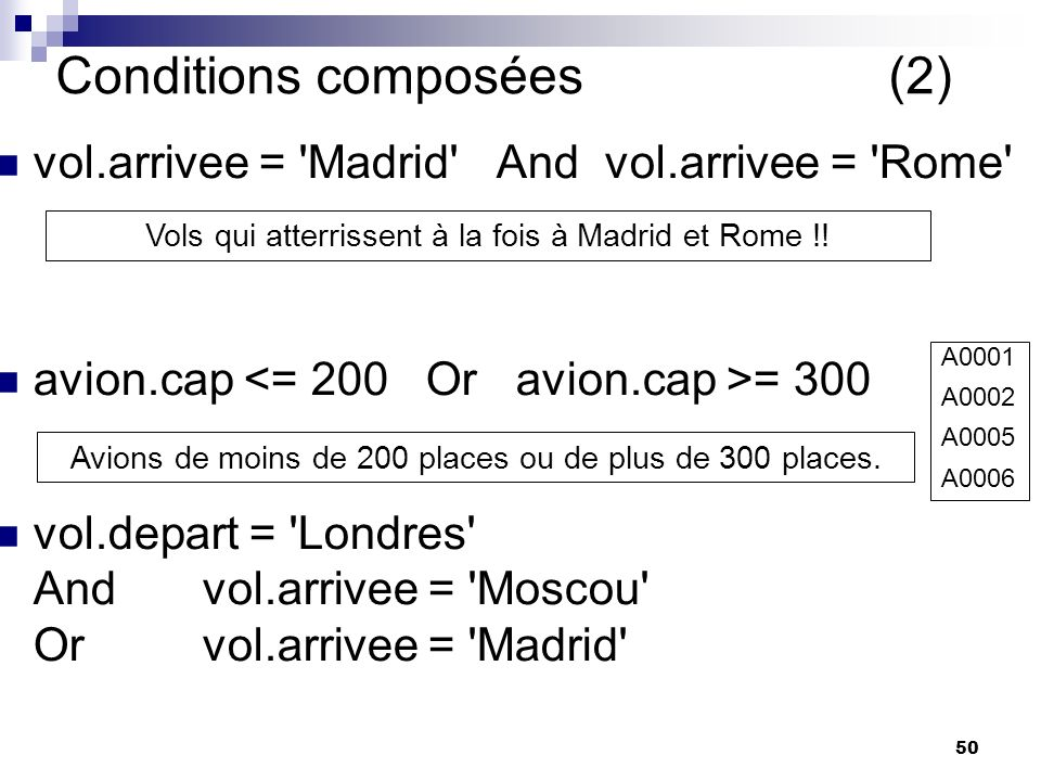 50 Conditions composées (2) vol.arrivee = Madrid And vol.arrivee = Rome avion.cap = 300 vol.depart = Londres Andvol.arrivee = Moscou Or vol.arrivee = Madrid Vols qui atterrissent à la fois à Madrid et Rome !.