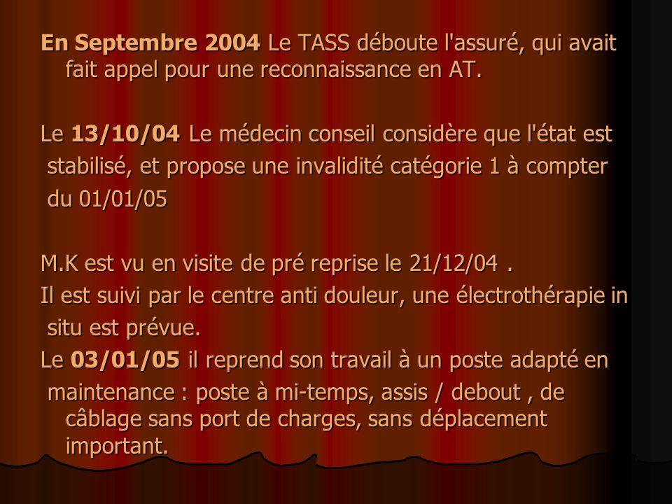 En Septembre 2004 Le TASS déboute l'assuré, qui avait fait appel pour une reconnaissance en AT. Le 13/10/04 Le médecin conseil considère que l'état es