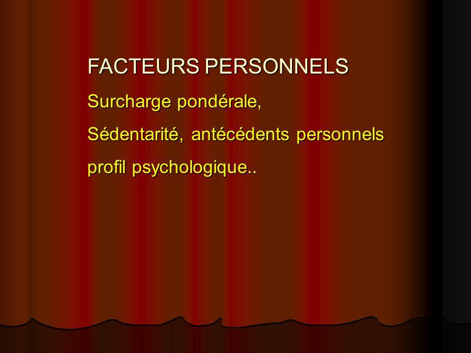 FACTEURS PERSONNELS Surcharge pondérale, Sédentarité, antécédents personnels profil psychologique..