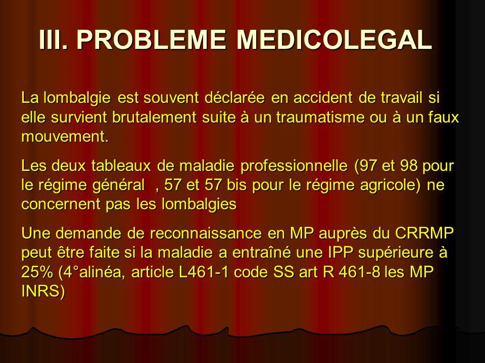 III. PROBLEME MEDICOLEGAL La lombalgie est souvent déclarée en accident de travail si elle survient brutalement suite à un traumatisme ou à un faux mo