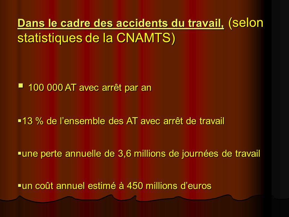 Dans le cadre des accidents du travail, (selon statistiques de la CNAMTS) 100 000 AT avec arrêt par an 100 000 AT avec arrêt par an 13 % de lensemble