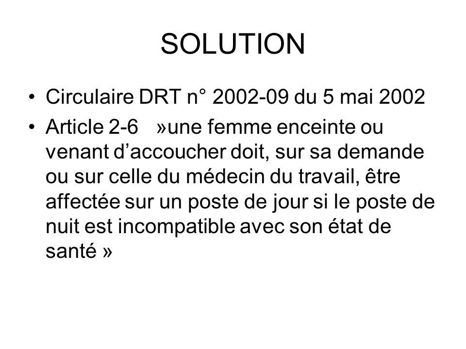 SOLUTION Circulaire DRT n° 2002-09 du 5 mai 2002 Article 2-6 »une femme enceinte ou venant daccoucher doit, sur sa demande ou sur celle du médecin du