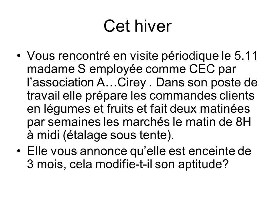 Cet hiver Vous rencontré en visite périodique le 5.11 madame S employée comme CEC par lassociation A…Cirey. Dans son poste de travail elle prépare les
