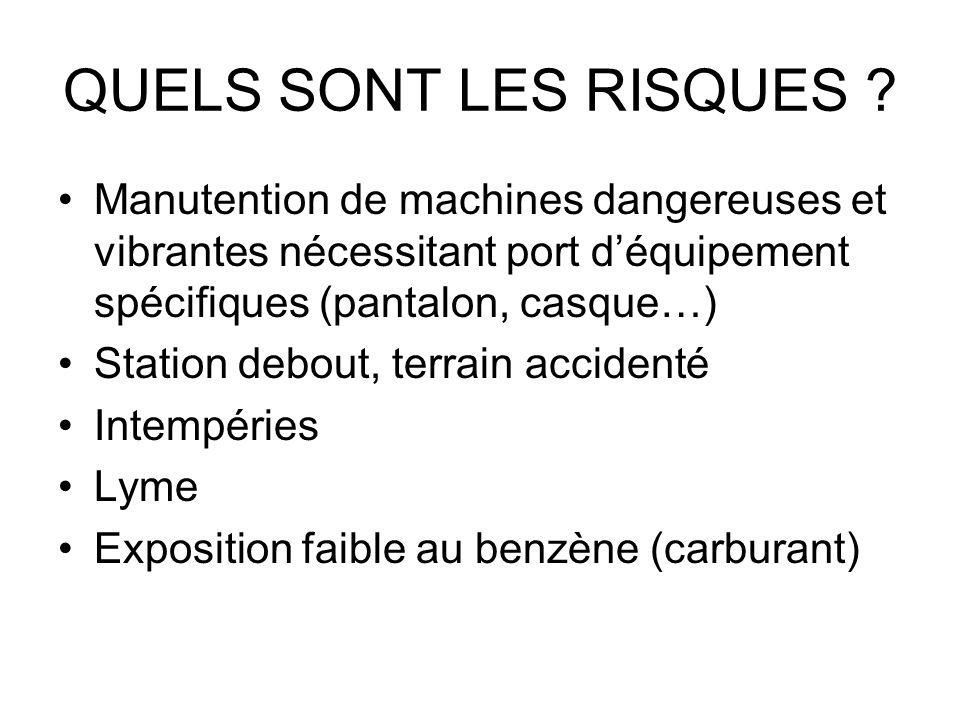 QUELS SONT LES RISQUES ? Manutention de machines dangereuses et vibrantes nécessitant port déquipement spécifiques (pantalon, casque…) Station debout,
