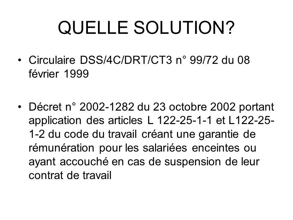 QUELLE SOLUTION? Circulaire DSS/4C/DRT/CT3 n° 99/72 du 08 février 1999 Décret n° 2002-1282 du 23 octobre 2002 portant application des articles L 122-2