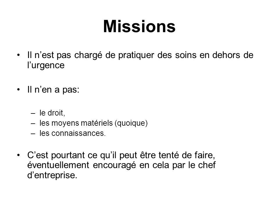 Missions Il nest pas chargé de pratiquer des soins en dehors de lurgence Il nen a pas: –le droit, –les moyens matériels (quoique) –les connaissances.