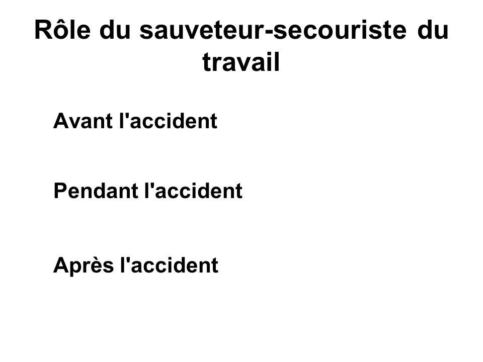 Rôle du sauveteur-secouriste du travail Avant l'accident Pendant l'accident Après l'accident