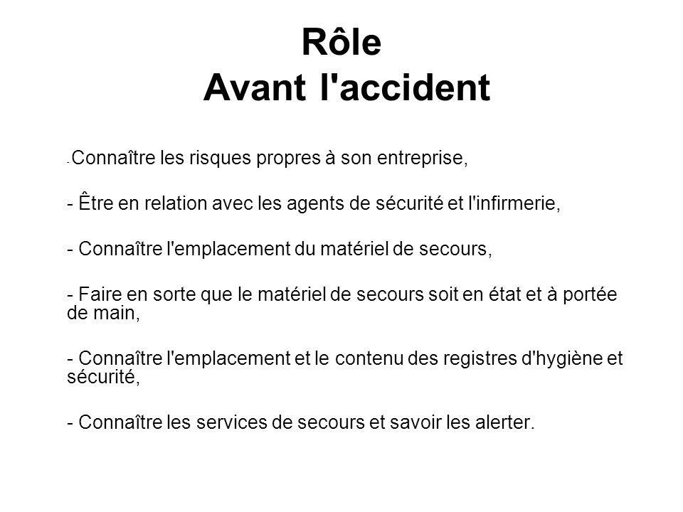 Rôle Avant l'accident - Connaître les risques propres à son entreprise, - Être en relation avec les agents de sécurité et l'infirmerie, - Connaître l'