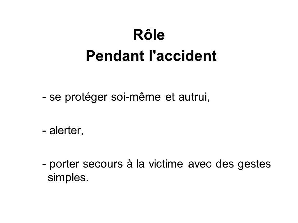Rôle Pendant l'accident - se protéger soi-même et autrui, - alerter, - porter secours à la victime avec des gestes simples.