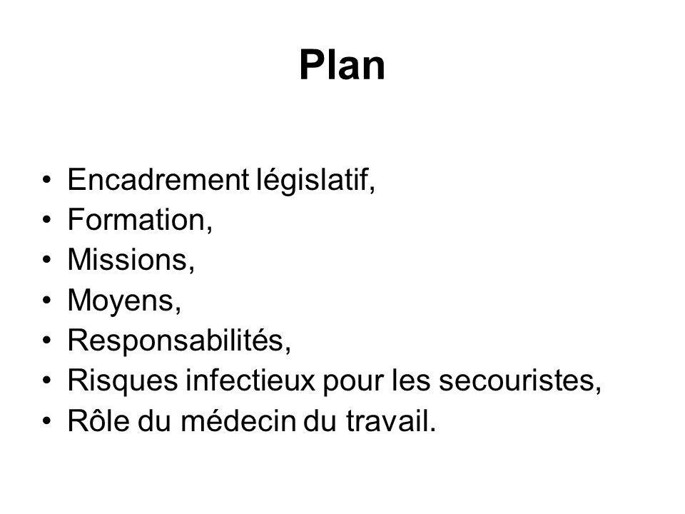 Plan Encadrement législatif, Formation, Missions, Moyens, Responsabilités, Risques infectieux pour les secouristes, Rôle du médecin du travail.