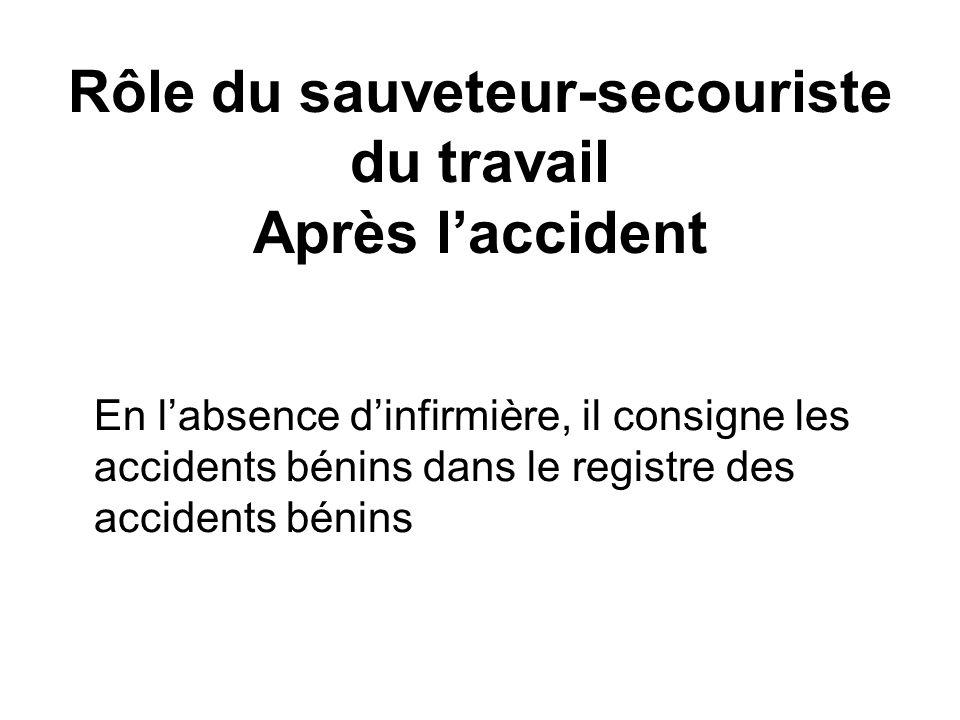 Rôle du sauveteur-secouriste du travail Après laccident En labsence dinfirmière, il consigne les accidents bénins dans le registre des accidents bénin
