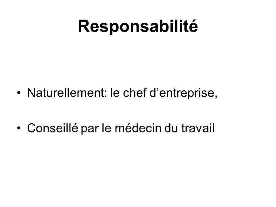 Responsabilité Naturellement: le chef dentreprise, Conseillé par le médecin du travail