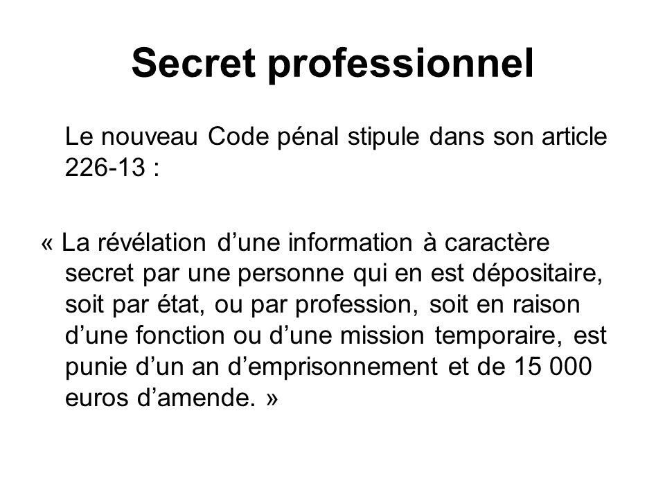 Secret professionnel Le nouveau Code pénal stipule dans son article 226-13 : « La révélation dune information à caractère secret par une personne qui