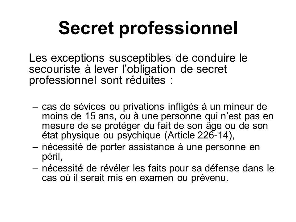 Secret professionnel Les exceptions susceptibles de conduire le secouriste à lever lobligation de secret professionnel sont réduites : –cas de sévices