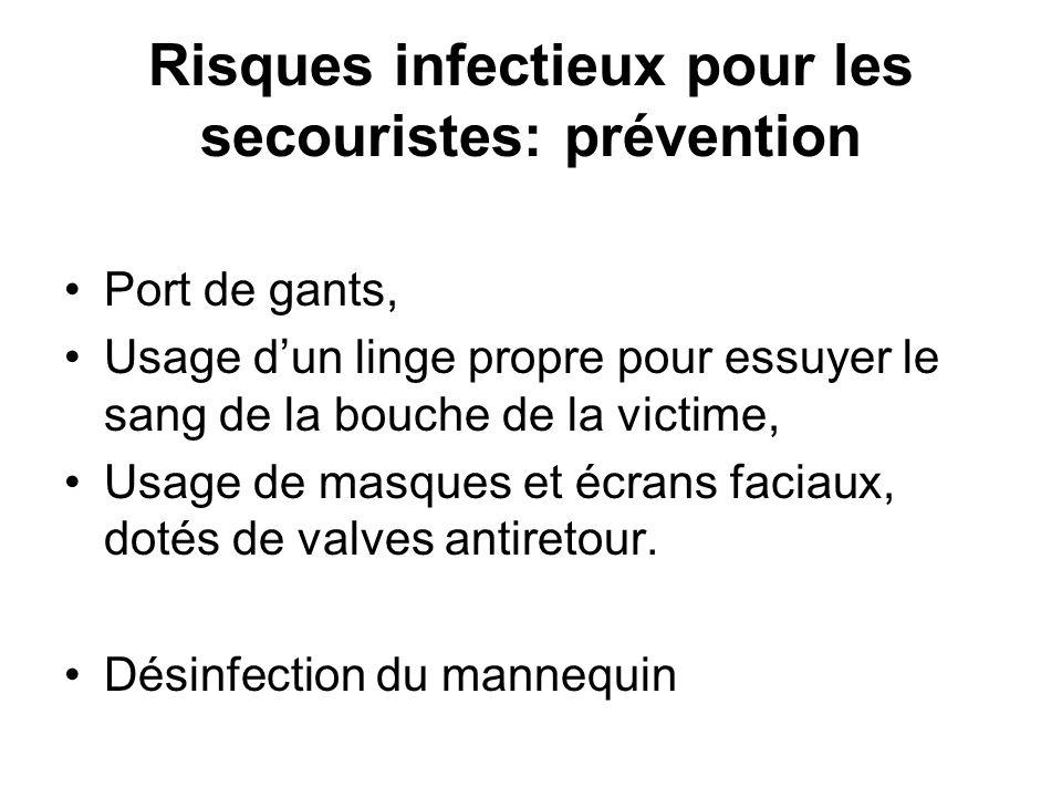 Risques infectieux pour les secouristes: prévention Port de gants, Usage dun linge propre pour essuyer le sang de la bouche de la victime, Usage de ma