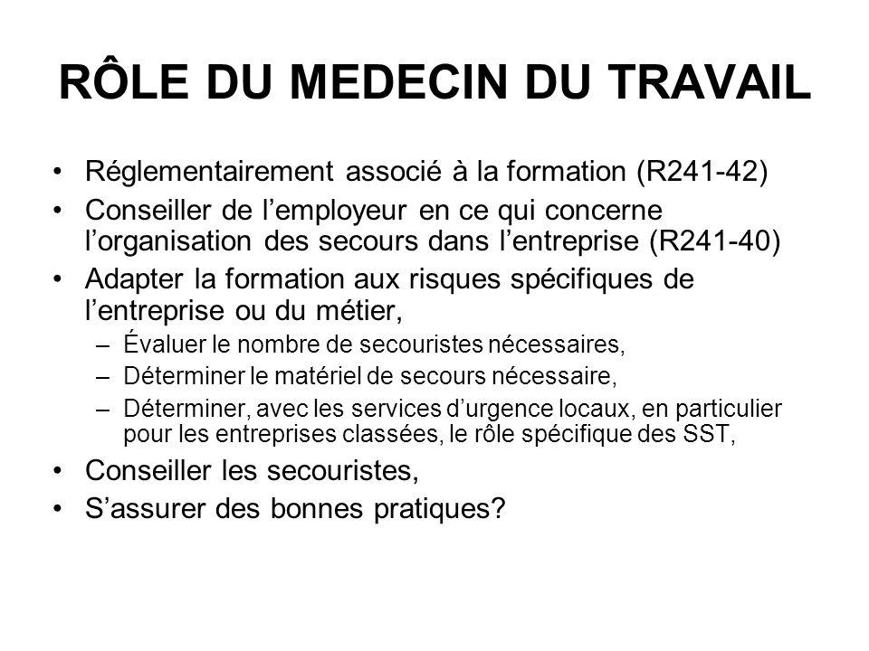 RÔLE DU MEDECIN DU TRAVAIL Réglementairement associé à la formation (R241-42) Conseiller de lemployeur en ce qui concerne lorganisation des secours da
