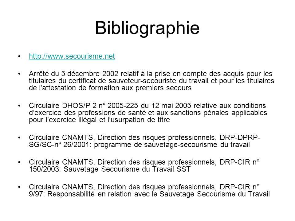 Bibliographie http://www.secourisme.net Arrêté du 5 décembre 2002 relatif à la prise en compte des acquis pour les titulaires du certificat de sauvete