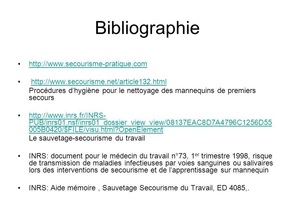 Bibliographie http://www.secourisme-pratique.com http://www.secourisme.net/article132.html Procédures dhygiène pour le nettoyage des mannequins de pre