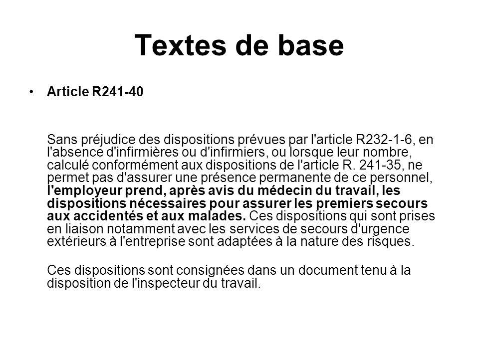 Textes de base Article R241-40 Sans préjudice des dispositions prévues par l'article R232-1-6, en l'absence d'infirmières ou d'infirmiers, ou lorsque