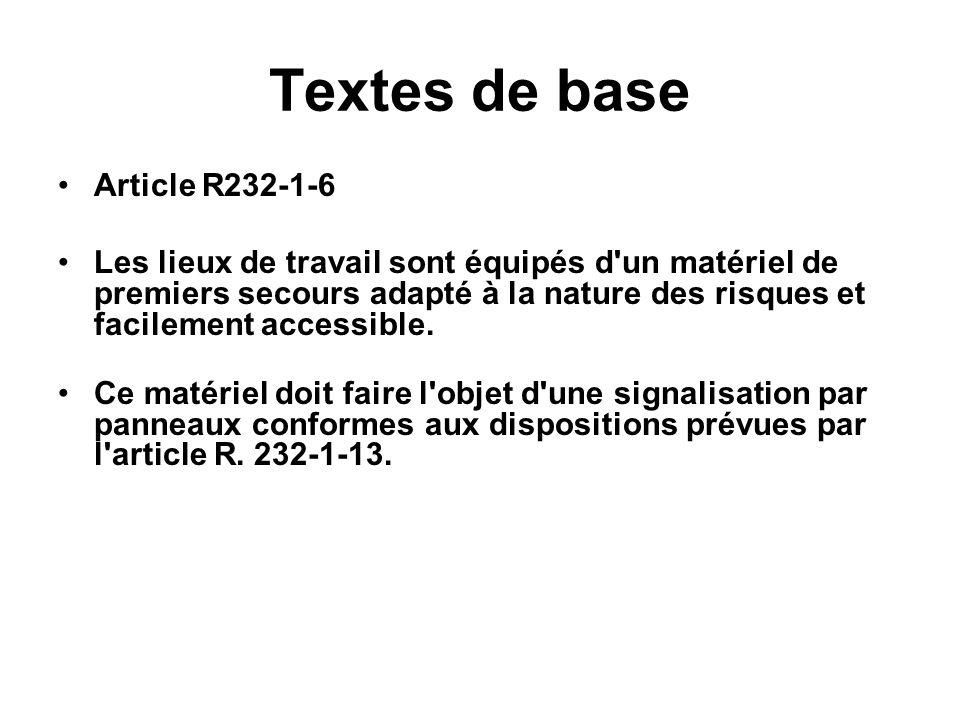 Textes de base Article R232-1-6 Les lieux de travail sont équipés d'un matériel de premiers secours adapté à la nature des risques et facilement acces