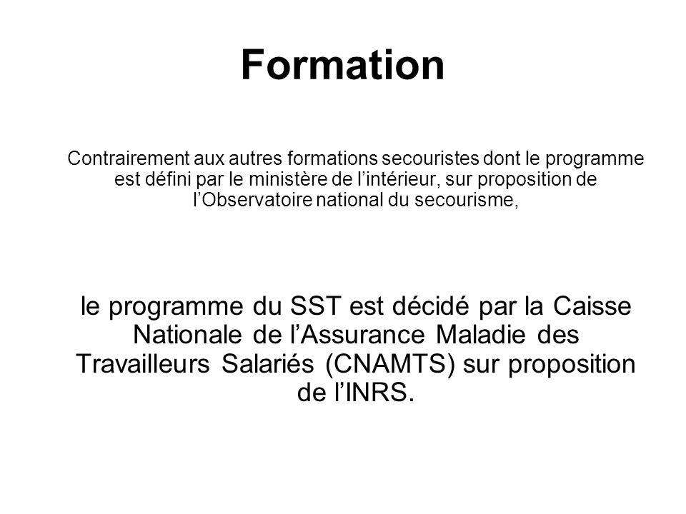Formation Contrairement aux autres formations secouristes dont le programme est défini par le ministère de lintérieur, sur proposition de lObservatoir