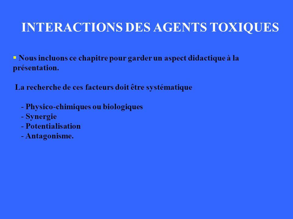 INTERACTIONS DES AGENTS TOXIQUES Nous incluons ce chapitre pour garder un aspect didactique à la présentation. La recherche de ces facteurs doit être
