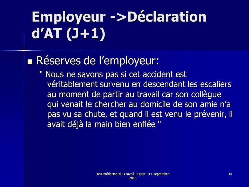 JVD Médecine du Travail - Dijon - 11 septembre 2006 10 Employeur ->Déclaration dAT (J+1) Réserves de lemployeur: Réserves de lemployeur: