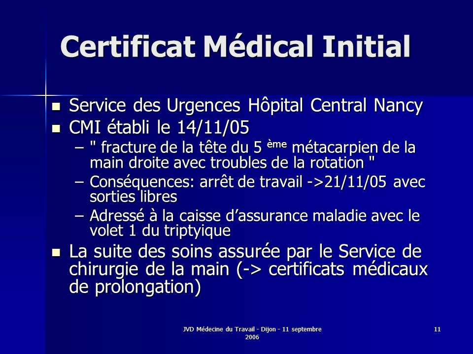 JVD Médecine du Travail - Dijon - 11 septembre 2006 11 Certificat Médical Initial Service des Urgences Hôpital Central Nancy Service des Urgences Hôpi