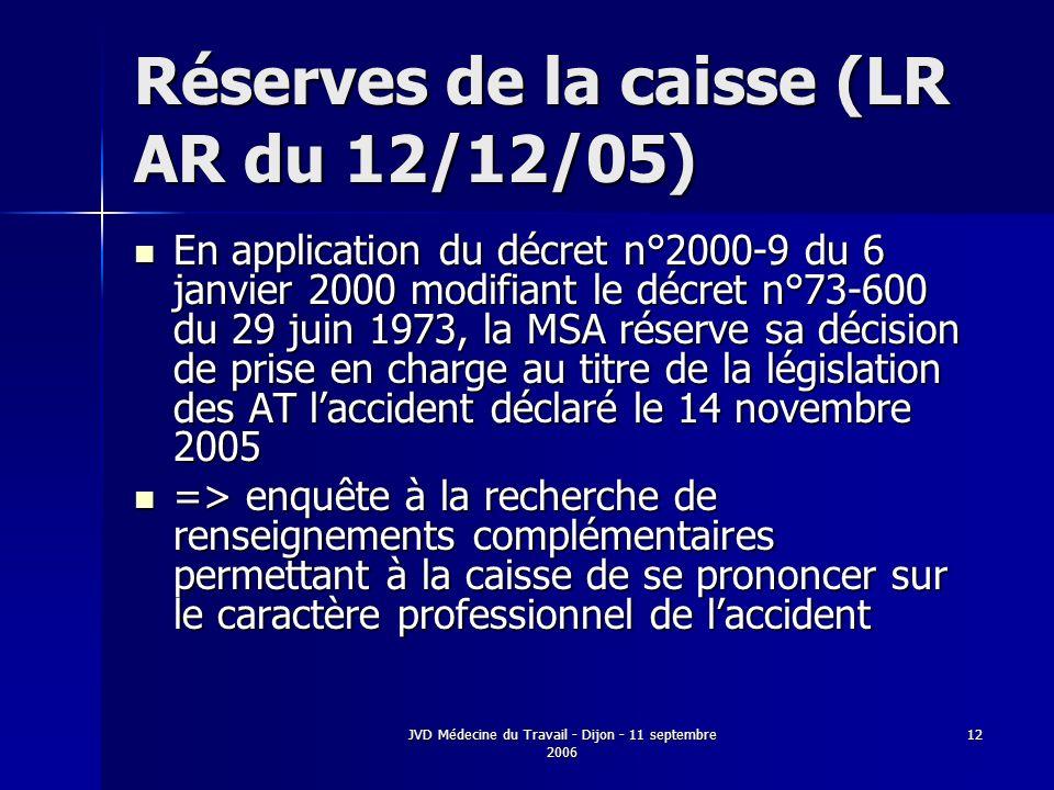 JVD Médecine du Travail - Dijon - 11 septembre 2006 12 Réserves de la caisse (LR AR du 12/12/05) En application du décret n°2000-9 du 6 janvier 2000 modifiant le décret n°73-600 du 29 juin 1973, la MSA réserve sa décision de prise en charge au titre de la législation des AT laccident déclaré le 14 novembre 2005 En application du décret n°2000-9 du 6 janvier 2000 modifiant le décret n°73-600 du 29 juin 1973, la MSA réserve sa décision de prise en charge au titre de la législation des AT laccident déclaré le 14 novembre 2005 => enquête à la recherche de renseignements complémentaires permettant à la caisse de se prononcer sur le caractère professionnel de laccident => enquête à la recherche de renseignements complémentaires permettant à la caisse de se prononcer sur le caractère professionnel de laccident