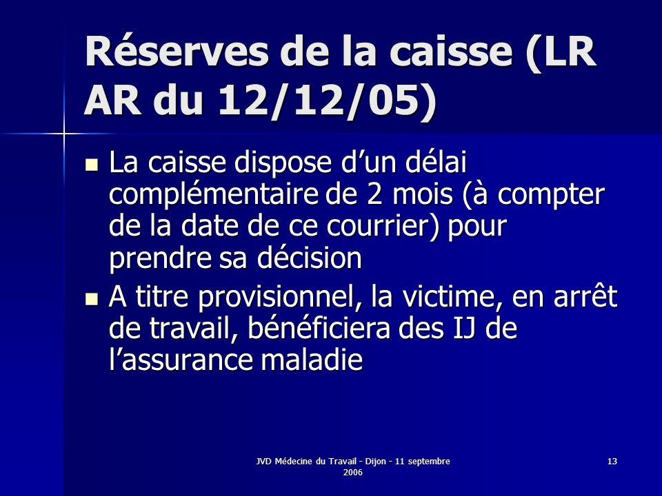 JVD Médecine du Travail - Dijon - 11 septembre 2006 13 Réserves de la caisse (LR AR du 12/12/05) La caisse dispose dun délai complémentaire de 2 mois (à compter de la date de ce courrier) pour prendre sa décision La caisse dispose dun délai complémentaire de 2 mois (à compter de la date de ce courrier) pour prendre sa décision A titre provisionnel, la victime, en arrêt de travail, bénéficiera des IJ de lassurance maladie A titre provisionnel, la victime, en arrêt de travail, bénéficiera des IJ de lassurance maladie