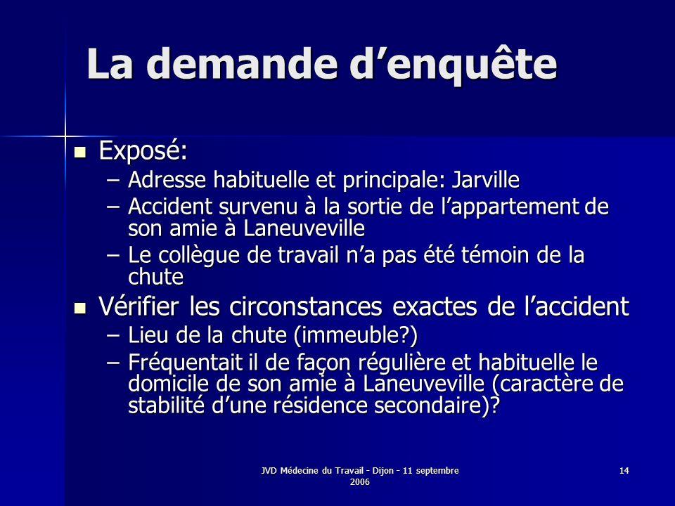 JVD Médecine du Travail - Dijon - 11 septembre 2006 14 La demande denquête Exposé: Exposé: –Adresse habituelle et principale: Jarville –Accident surve