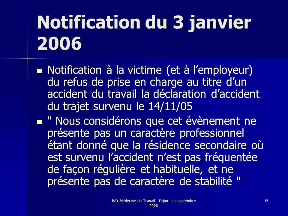 JVD Médecine du Travail - Dijon - 11 septembre 2006 15 Notification du 3 janvier 2006 Notification à la victime (et à lemployeur) du refus de prise en charge au titre dun accident du travail la déclaration daccident du trajet survenu le 14/11/05 Notification à la victime (et à lemployeur) du refus de prise en charge au titre dun accident du travail la déclaration daccident du trajet survenu le 14/11/05 Nous considérons que cet évènement ne présente pas un caractère professionnel étant donné que la résidence secondaire où est survenu laccident nest pas fréquentée de façon régulière et habituelle, et ne présente pas de caractère de stabilité Nous considérons que cet évènement ne présente pas un caractère professionnel étant donné que la résidence secondaire où est survenu laccident nest pas fréquentée de façon régulière et habituelle, et ne présente pas de caractère de stabilité