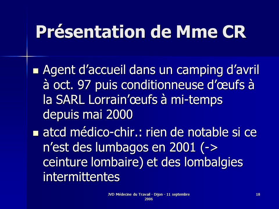 JVD Médecine du Travail - Dijon - 11 septembre 2006 18 Présentation de Mme CR Agent daccueil dans un camping davril à oct. 97 puis conditionneuse dœuf